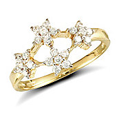 Jewelco London 9ct Solid Gold CZ set Flower style cluster Ring