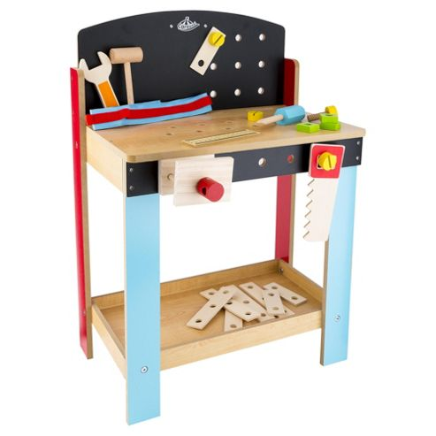 Carousel Wooden Tool Workbench Kids Boys Toy Playset Belt Hammer Saw Box Damage Ebay