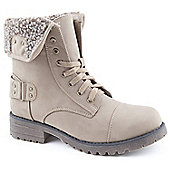 Emilio Luca X Red Ladies Knitted Workman Taupe Ankle Boots - Taupe