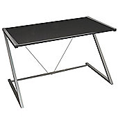 Indigo - Gloss Office Desk / Workstation + Free Shelves - Black