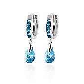 QP Jewellers 4.20ct Blue Topaz Pear Drop Huggie Earrings in 14K White Gold