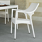 Varaschin Cafenoir Outdoor Dining Chair with Arms by Varaschin R and D (Set of 2) - White - Panama Azzurro