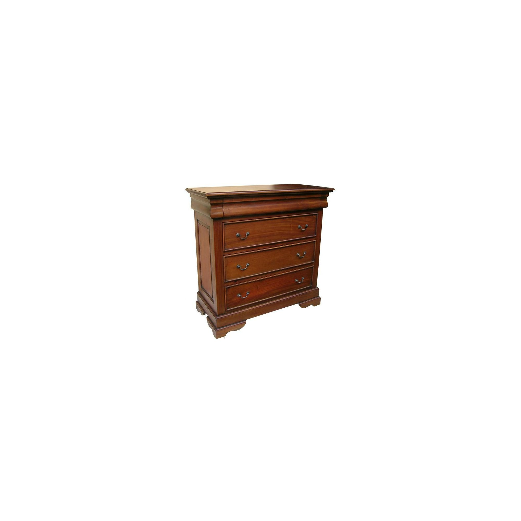 Lock stock and barrel Mahogany 3 Drawer Sleigh Chest - Wax at Tesco Direct