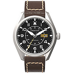 Grayton Harrier Mens Leather 24 hour Date Watch GR-0014-005.6