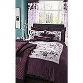 Catherine Lansfield Home designer collection Panel Print Plum Corrine King Size Cotton Rich Quilt Set
