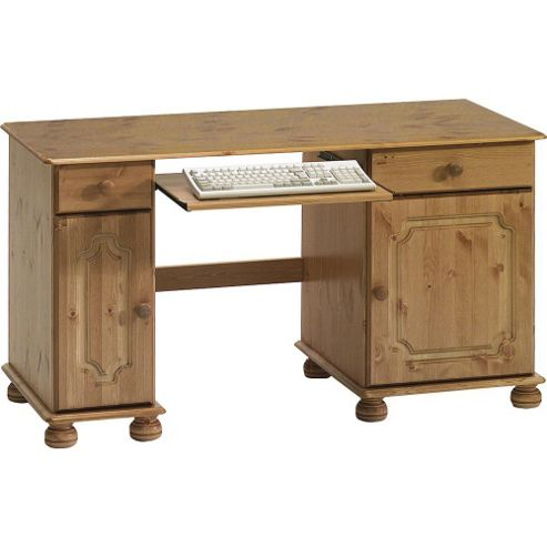 Buy houston solid wood office desk workstation antique pine from our office desks tables - Tesco office desk ...