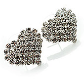 Clear Crystal Heart Stud Earrings