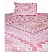 Woven Magic Trip Around The World Pink Quilt - Twin