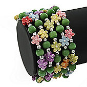 Acrylic Flower Bead Coil Flex Bracelet (Light Green) - Adjustable