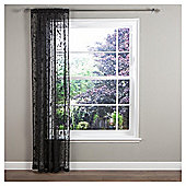 "Nightingale Voile Slot Top Curtains W147xL137cm (58x54""), Black"