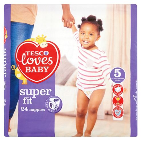 Tesco Loves Baby Super Fit Nappies Size 5 Junior 24 Pack