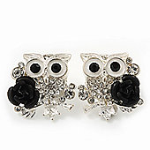'Wise Owl With Rose' Swarovski Crystal Paved Stud Earrings In Rhodium Plating - 2cm Length