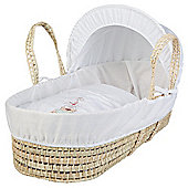 Clair de Lune Tippy Tumble Palm Moses Basket, White