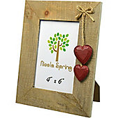 Nicola Spring Driftwood Photo Picture Frame With Red Hearts - 4 x 6""