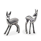 Set of Two Aluminium Baby Deer Standing Christmas Ornaments