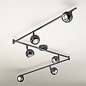 Retro Six Way Adjustable Ceiling Spotlight in Black Chrome