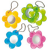 Flower Mirror Keyrings & Bag Danglers Children's Toys Party Bag Filler Games Prizes - Pack of 6
