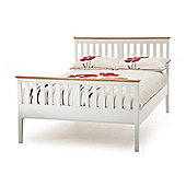 Grace High Foot Bedstead - White & Cherry - Double (4ft 6')