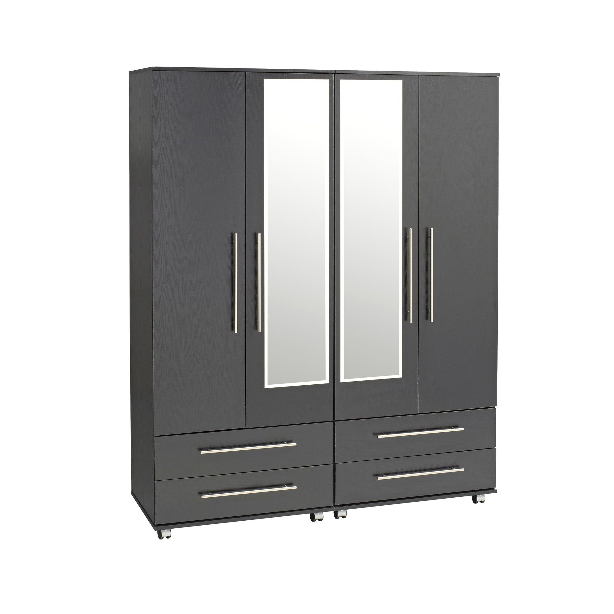 Ideal Furniture Bobby 4 Door Wardrobe - Black at Tescos Direct