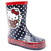 Character Girls Hello Kitty Polka Dot Navy Wellington Boots - Blue