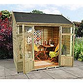8ft x 6ft Kempsford Summerhouse - 8 x 6 Assembled Garden Wooden Summerhouse 8x6