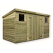 12ft x 6ft Large Pressure Treated 12 x 6 T&G Pent Shed + Double Doors Centre + 2 Windows
