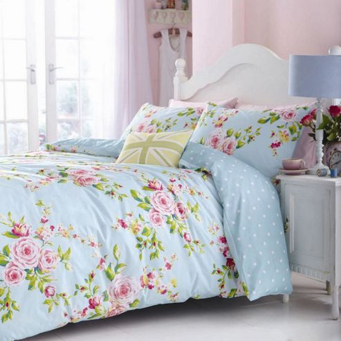 Catherine Lansfield Canterbury Single Quilt Cover Set - Blue