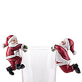 Set of 2 Novelty Pot or Vase Edge Hugging Father Christmas Figurine Ornaments