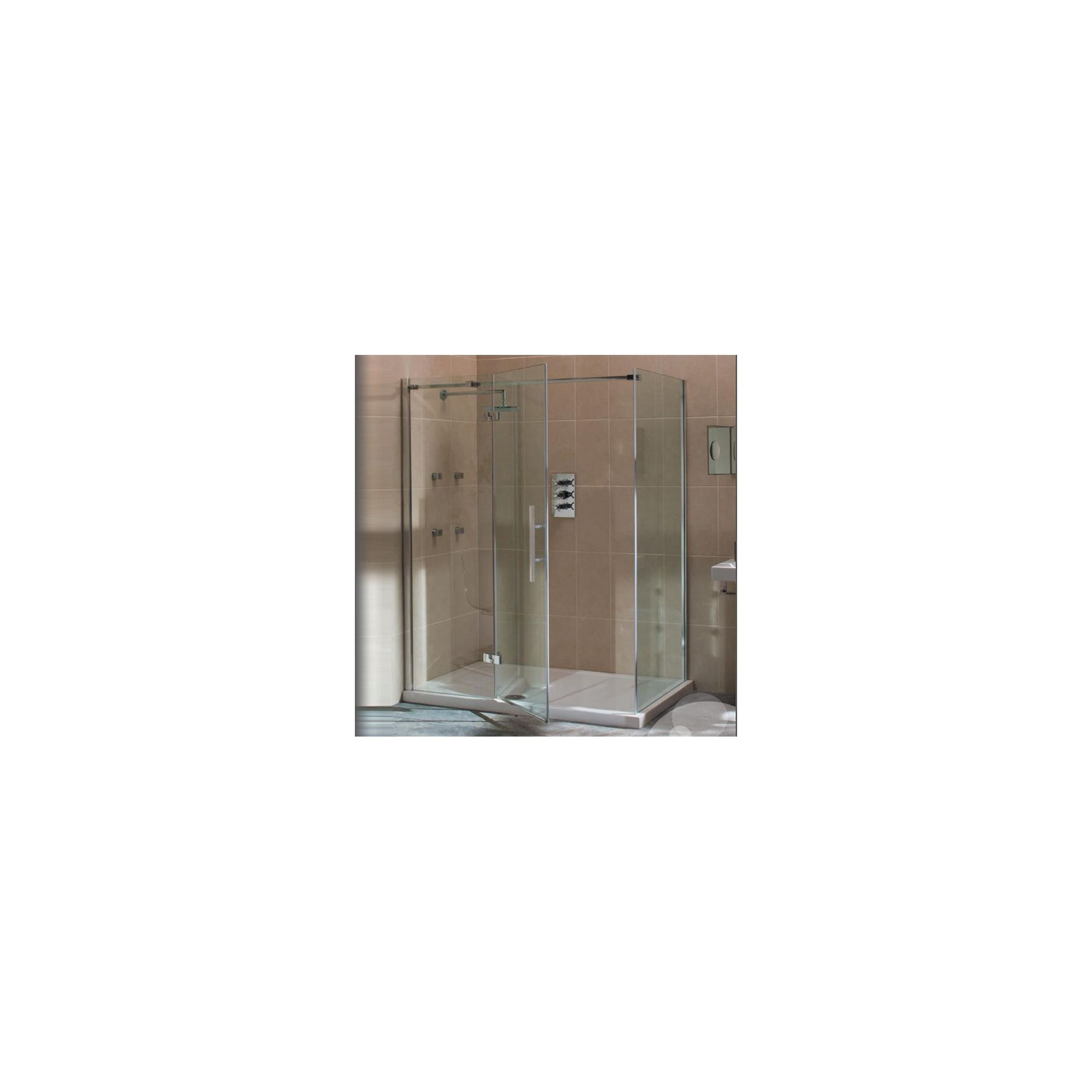 Merlyn Vivid Nine Frameless Hinged Shower Door and Inline Panel, 1400mm Wide, Left Handed, 8mm Glass at Tescos Direct