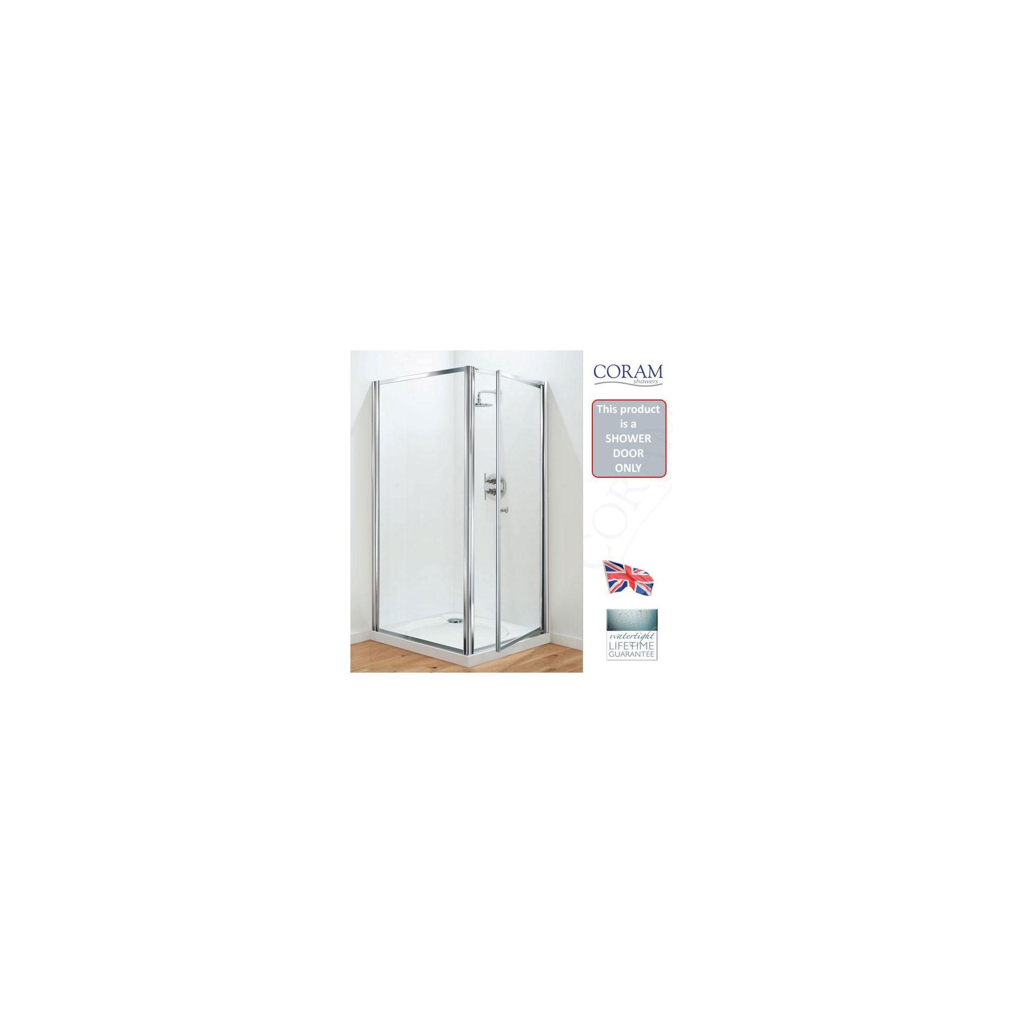 Coram Optima Pivot Shower Door, 900mm Wide, Chrome Frame, 6mm Plain Glass at Tesco Direct