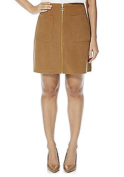 F&F Faux Suede Patch Pocket Mini Skirt - Brown