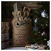 Hessian Santa's Workshop Christmas Sack
