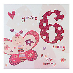 Pink Fizz Girls 6th Birthday Card