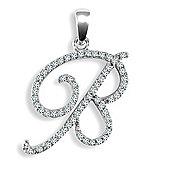 9ct White Gold Diamond Script Initial Identity Pendant - Letter B
