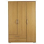 Newport 3 Door 2 Drawer Wardrobe Oak