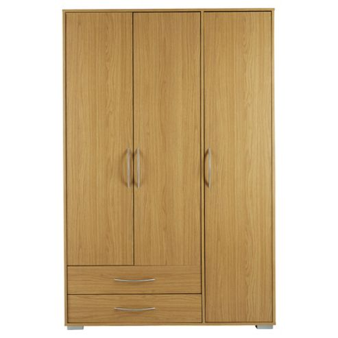 Newport Triple 2 Drawer Wardrobe Oak