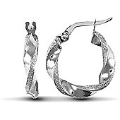 Jewelco London 9ct White Gold Polished / Frost Hoop Earring