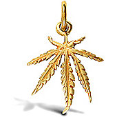Jewelco London 9ct Solid Gold medium weight Cannabis Leaf design Pendant