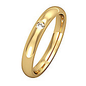 Jewelco London 9ct Yellow Gold - Diamond - 3mm Essential Court-Shaped Set with a Band Commitment / Wedding Ring -