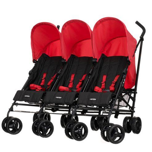 Obaby Mercury Triple Stroller, Black/Red