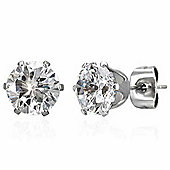 Urban Male Round CZ Stainless Steel Stud Earrings For Men 7mm