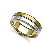 Jewelco London Bespoke Hand-Made 18 carat Yellow & White Gold 7mm Flat Court Wedding / Commitment Ring,