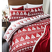 Catherine Lansfield Nordic Trees Christmas Duvet Cover Set - Red