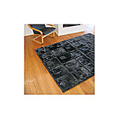 Bowron Sheepskin Shortwool Design Orbit Black Rug - 240cm H x 65cm W x 1cm D