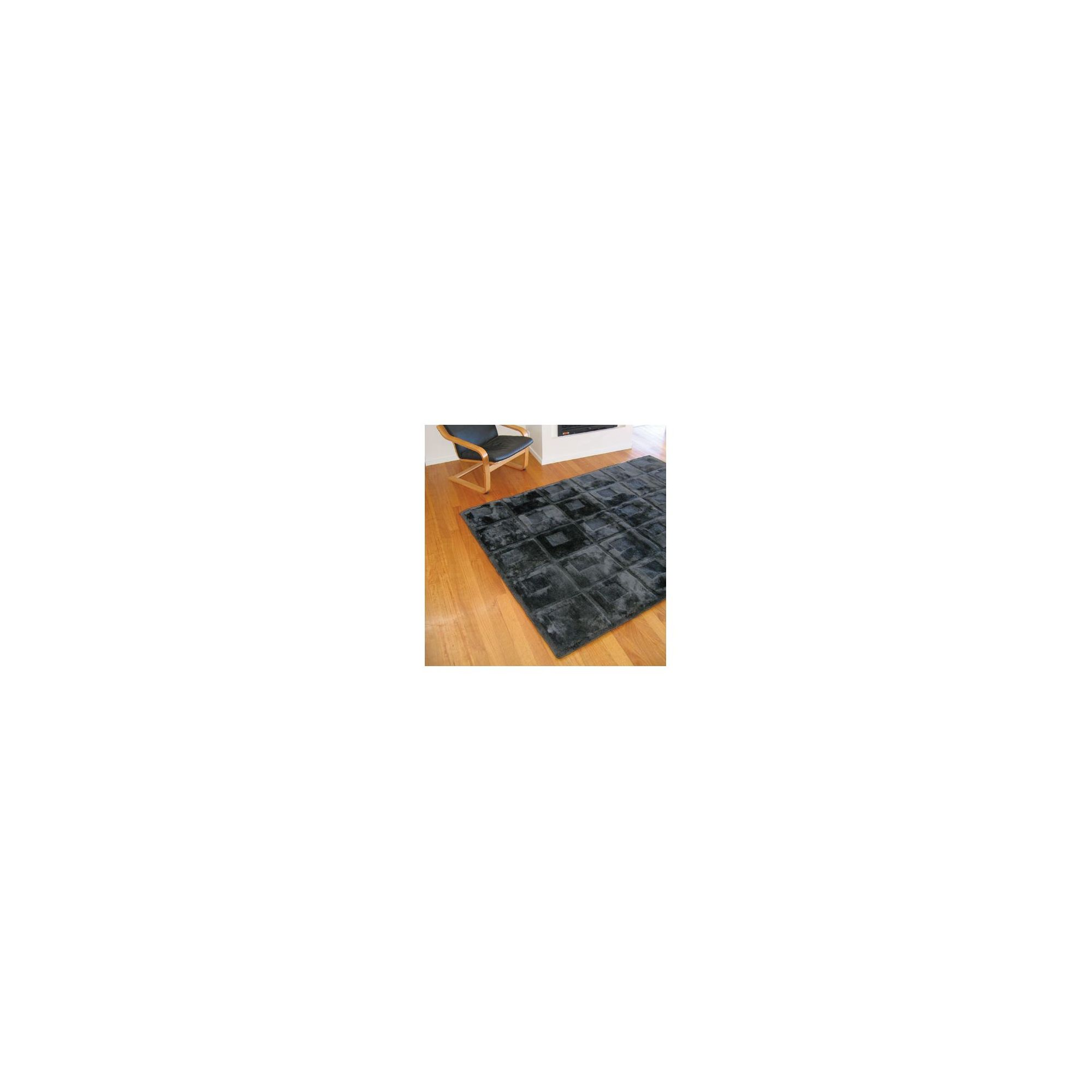 Bowron Sheepskin Shortwool Design Orbit Black Rug - 240cm H x 65cm W x 1cm D at Tesco Direct