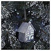 Silver Glitter Light Up House Christmas Tree Decoration