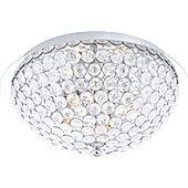 Home Essence Azalea Flush Ceiling Light in Chrome - 15cm H x 30cm W x 30cm D