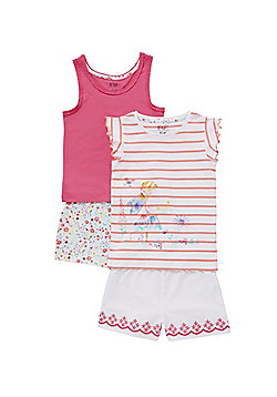 F&F 2 Pack of Floral Fairy Shorts Pyjamas - Pink