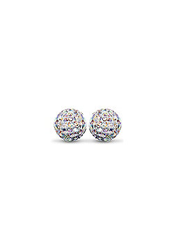 Sterling Silver Dazzling Disco Ball Stud Earrings 10mm - Rainbow coloured Crystal