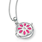 Childrens D for Diamond Pink Daisy Silver Locket